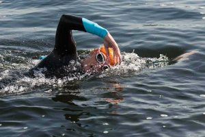 London Royal Docks Open Water Swimming, a swimmer in the water