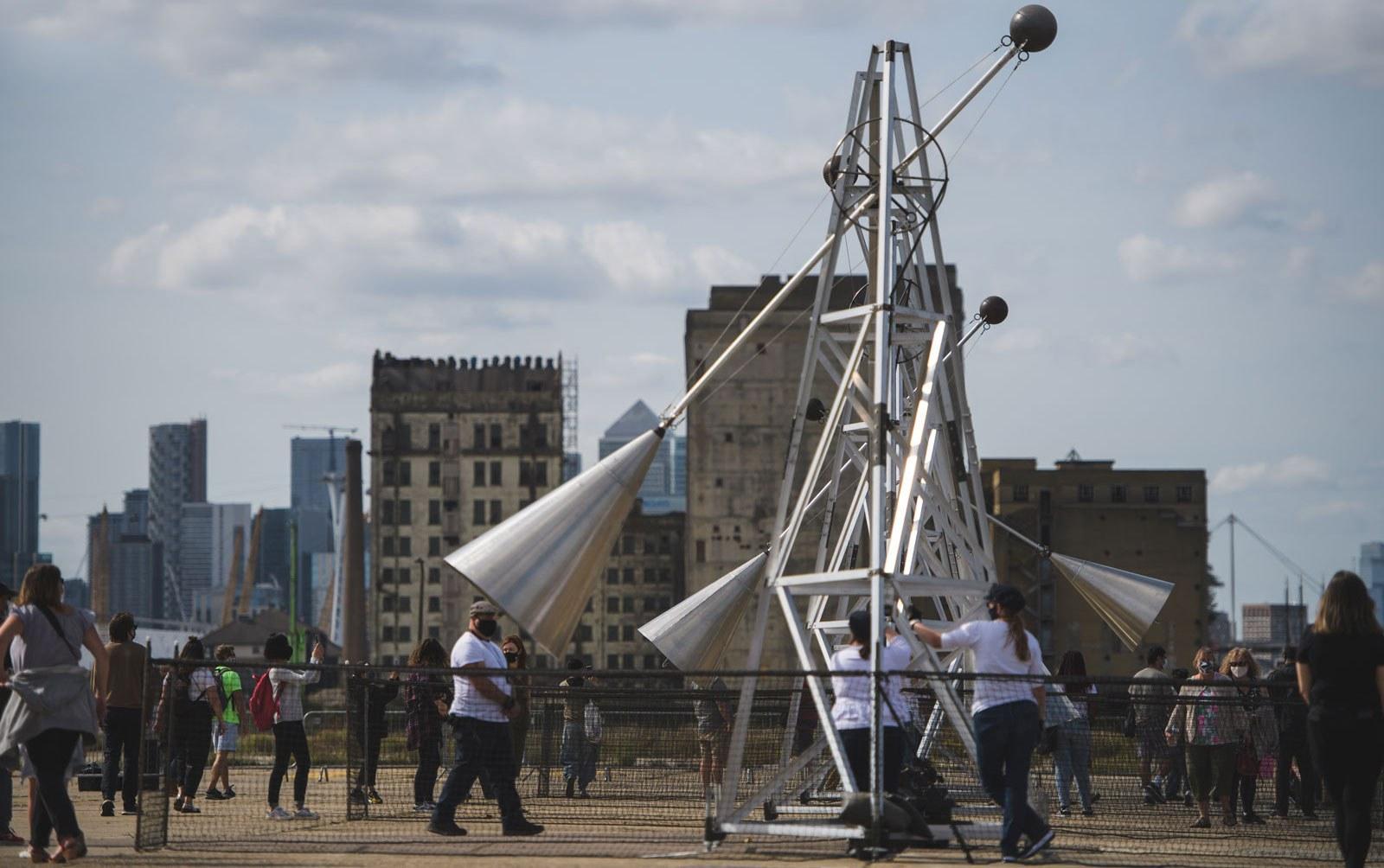 Image shows installation art at the Royal Docks