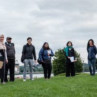 Public Spaces Community Working Group for the Royal Docks, group photo in Thames Barrier Park