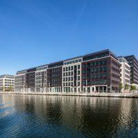 Buildings along the water of Royal Albert Dock