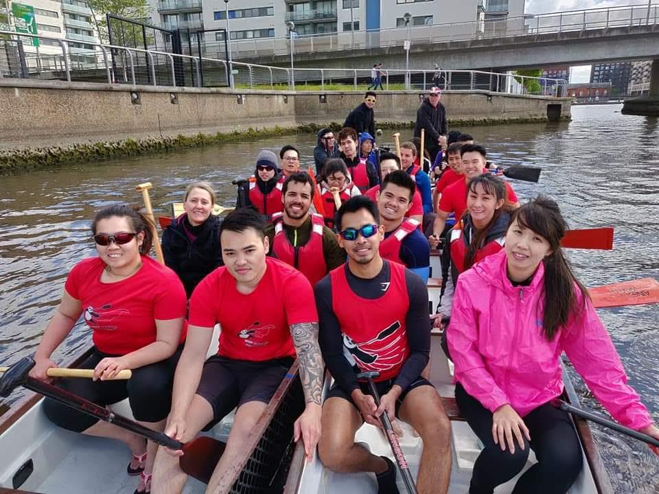 The Windy Pandas rowing team photograph