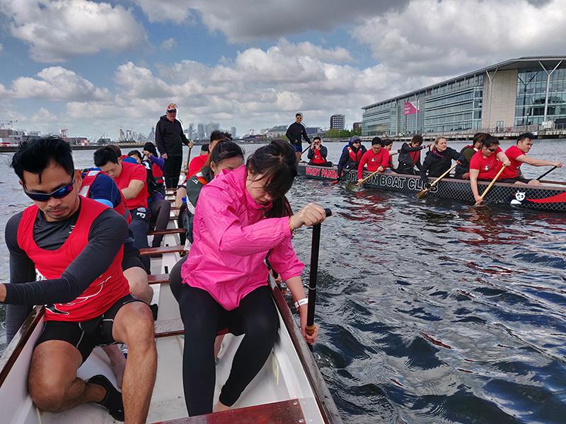 The Windy Pandas rowing team training