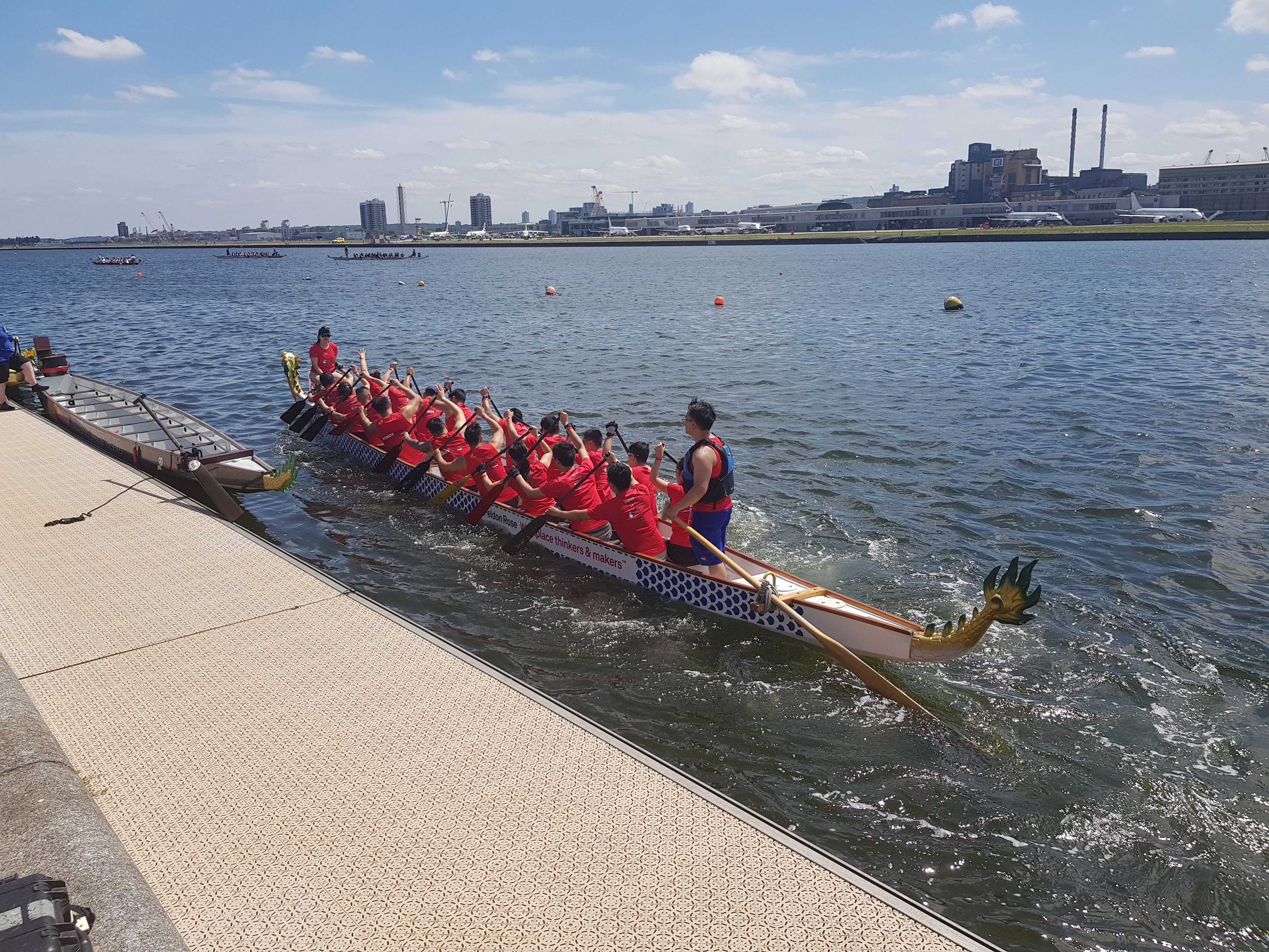 The Windy Pandas team on the water in the Royal Docks