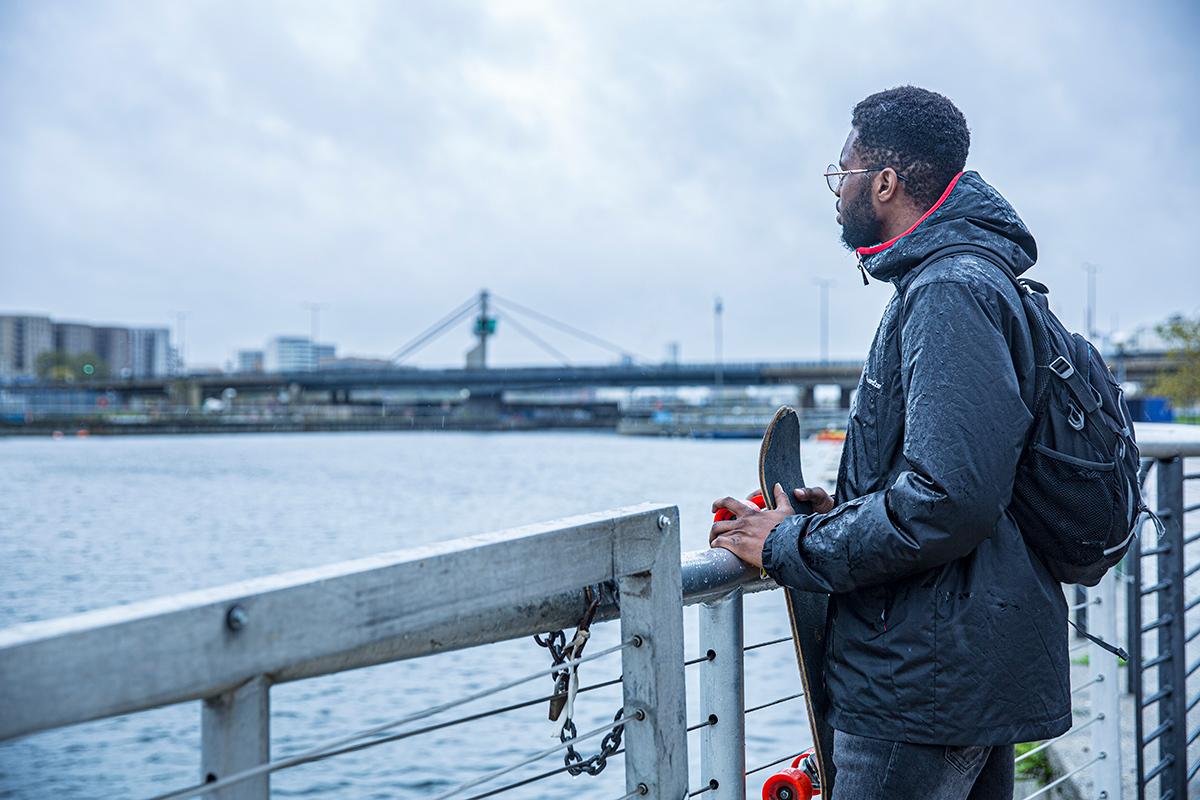 Tyrone Ferguson overlooking the Royal Docks