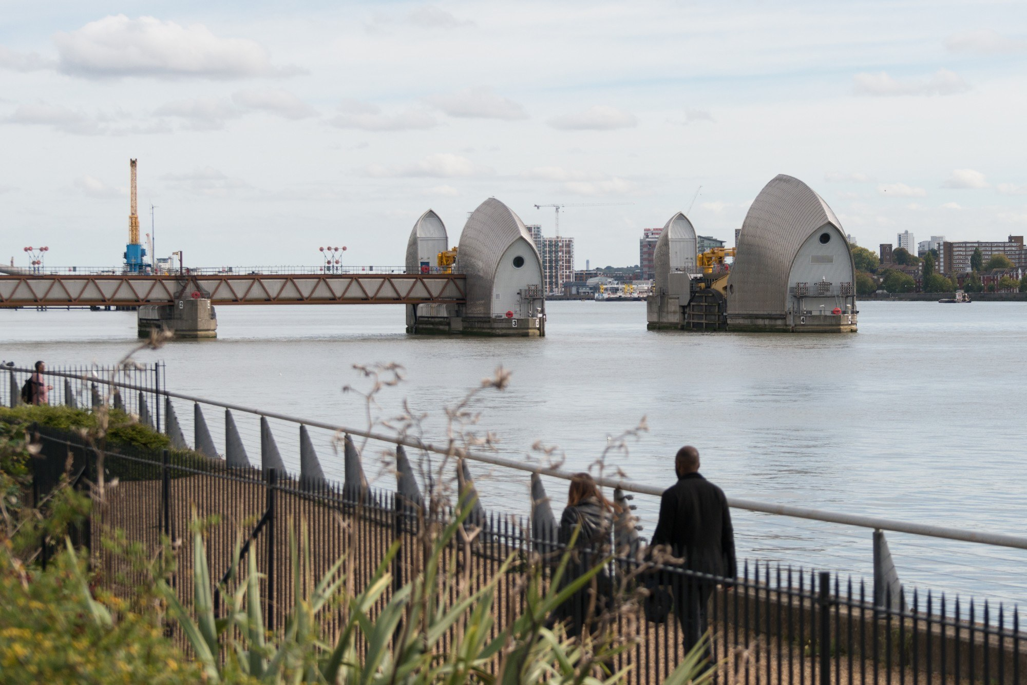The Thames Barrier whilst open