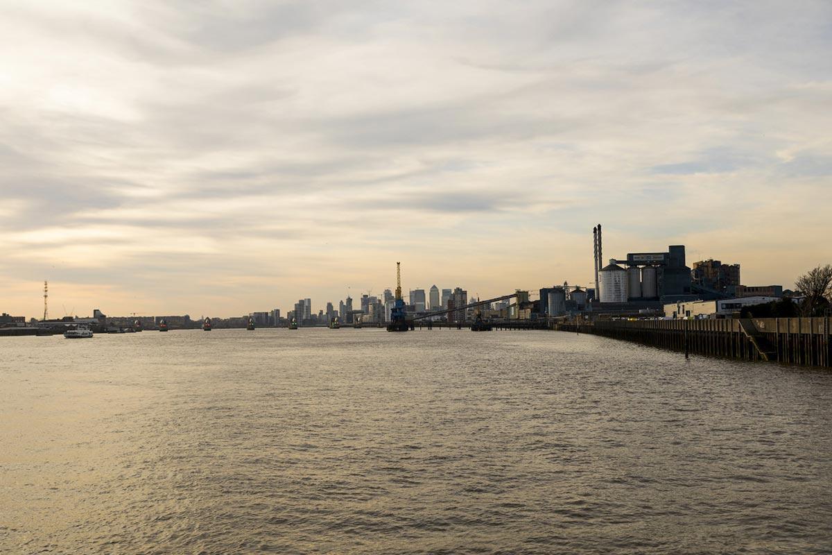 Royal Docks water at sunset
