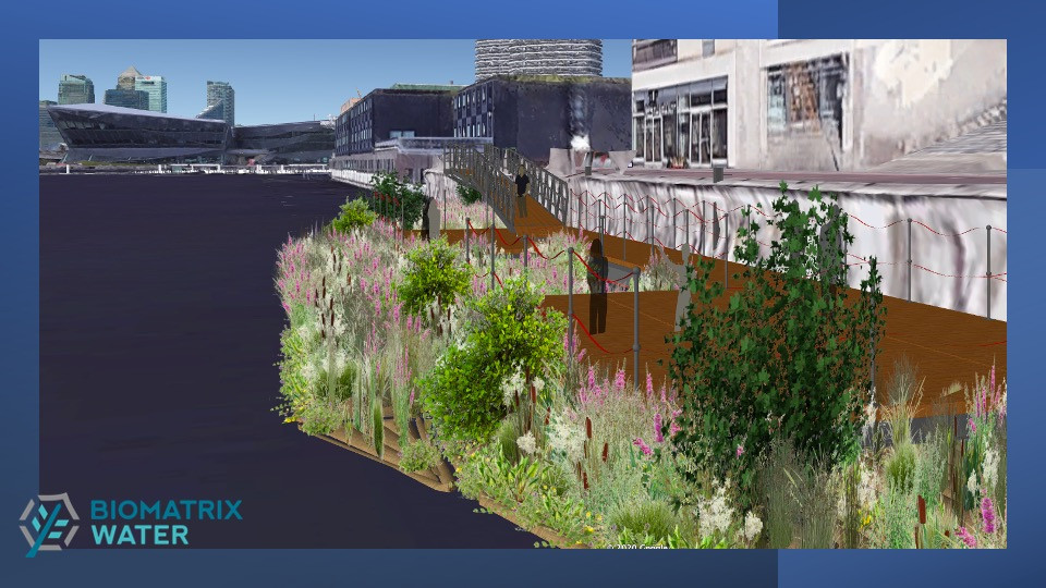 Concept image of floating gardens at Royal Victoria Dock