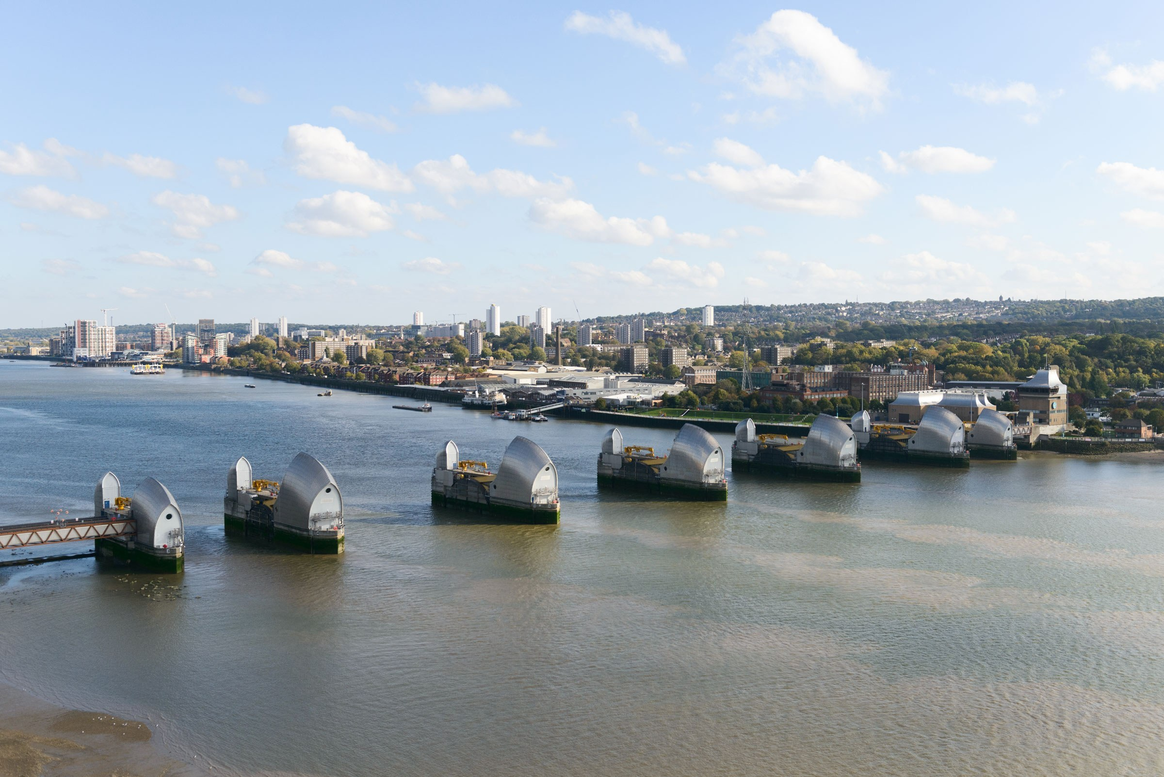The Thames Barrier seen from above