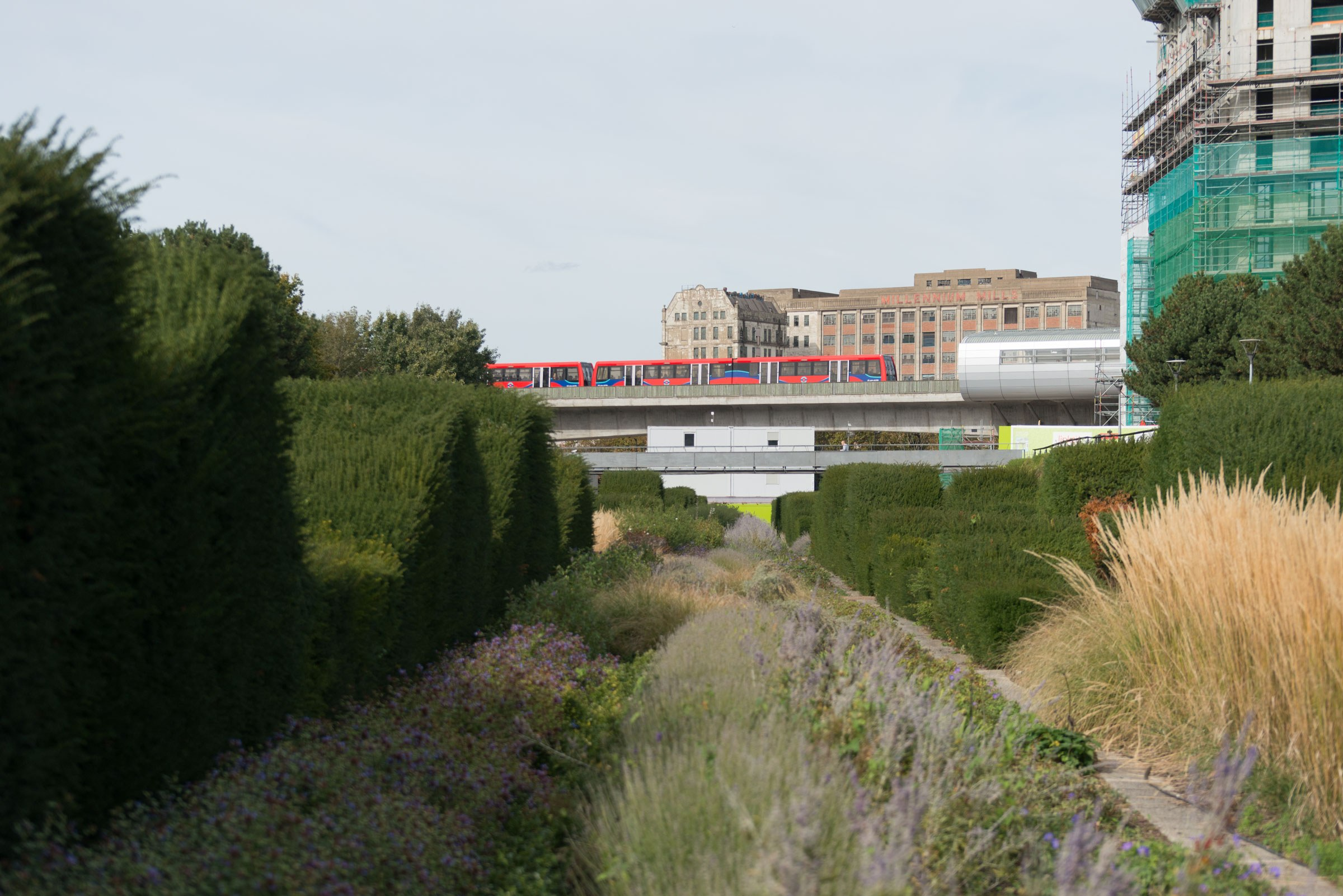 The Thames Barrier Park dock with the DLR train in the background