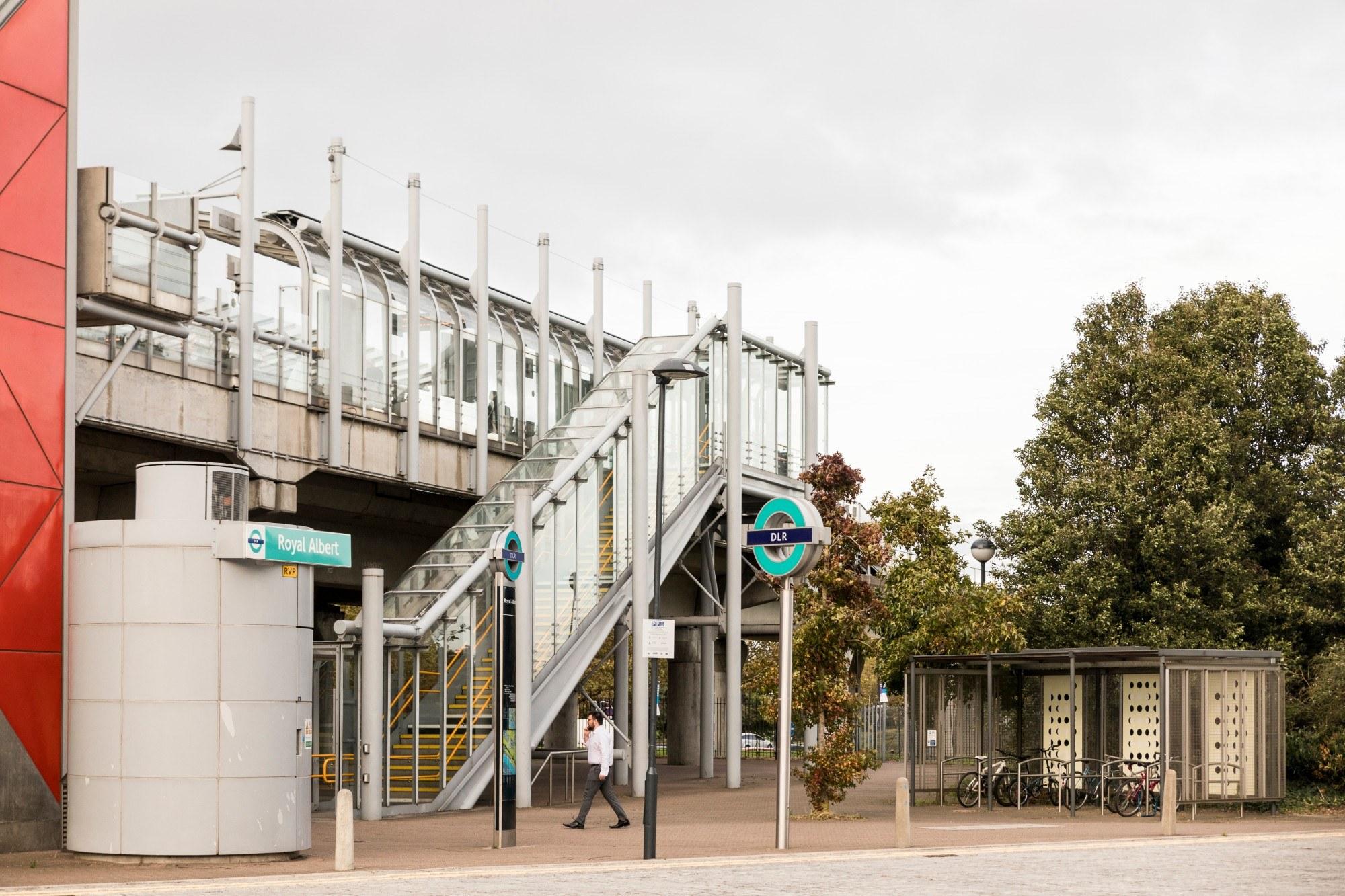 Royal Albert DLR stop in the Royal Docks