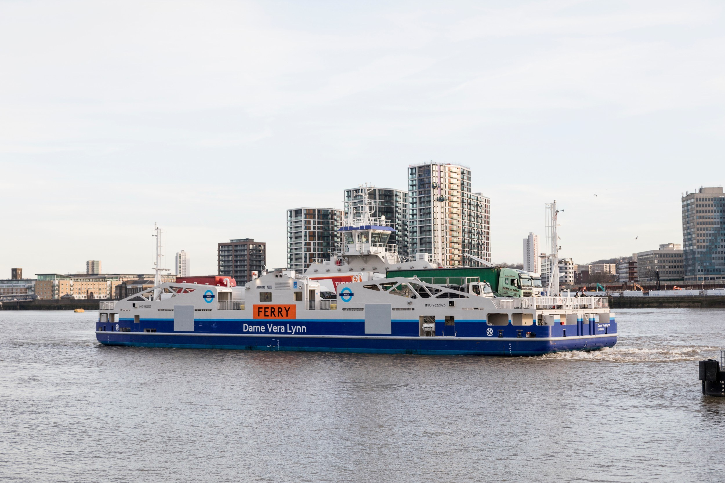 The new model of the Woolwich Ferry on the water