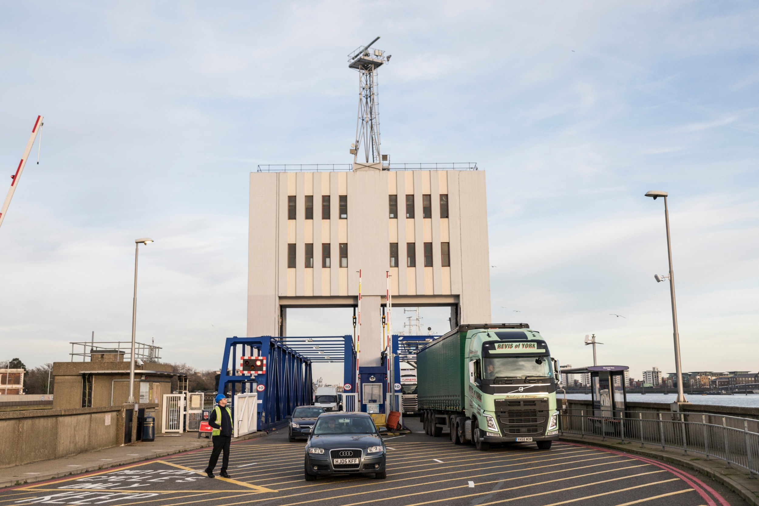 Cars and lorries departing from the Woolwich ferry