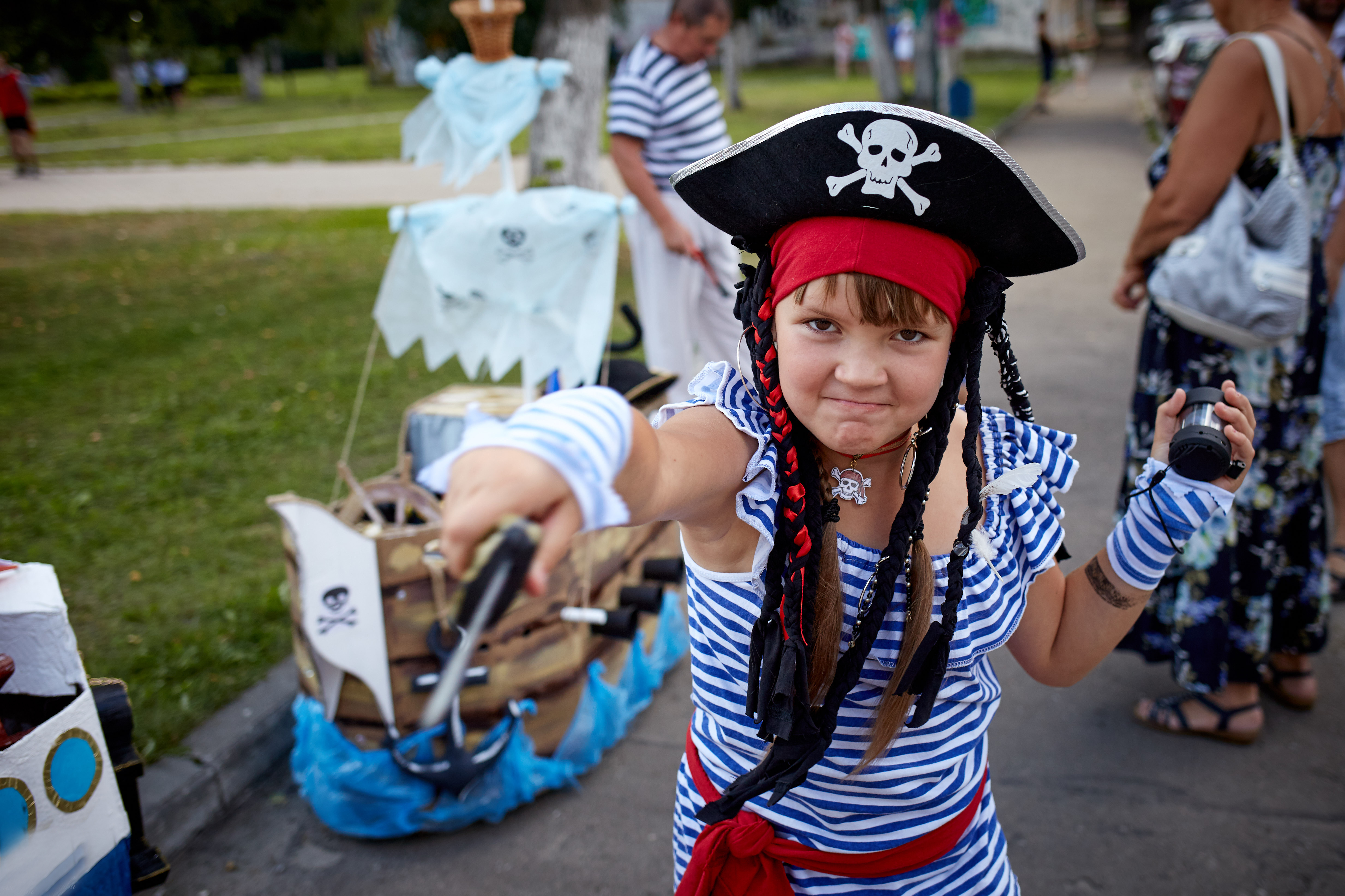 A child dressed as a pirate