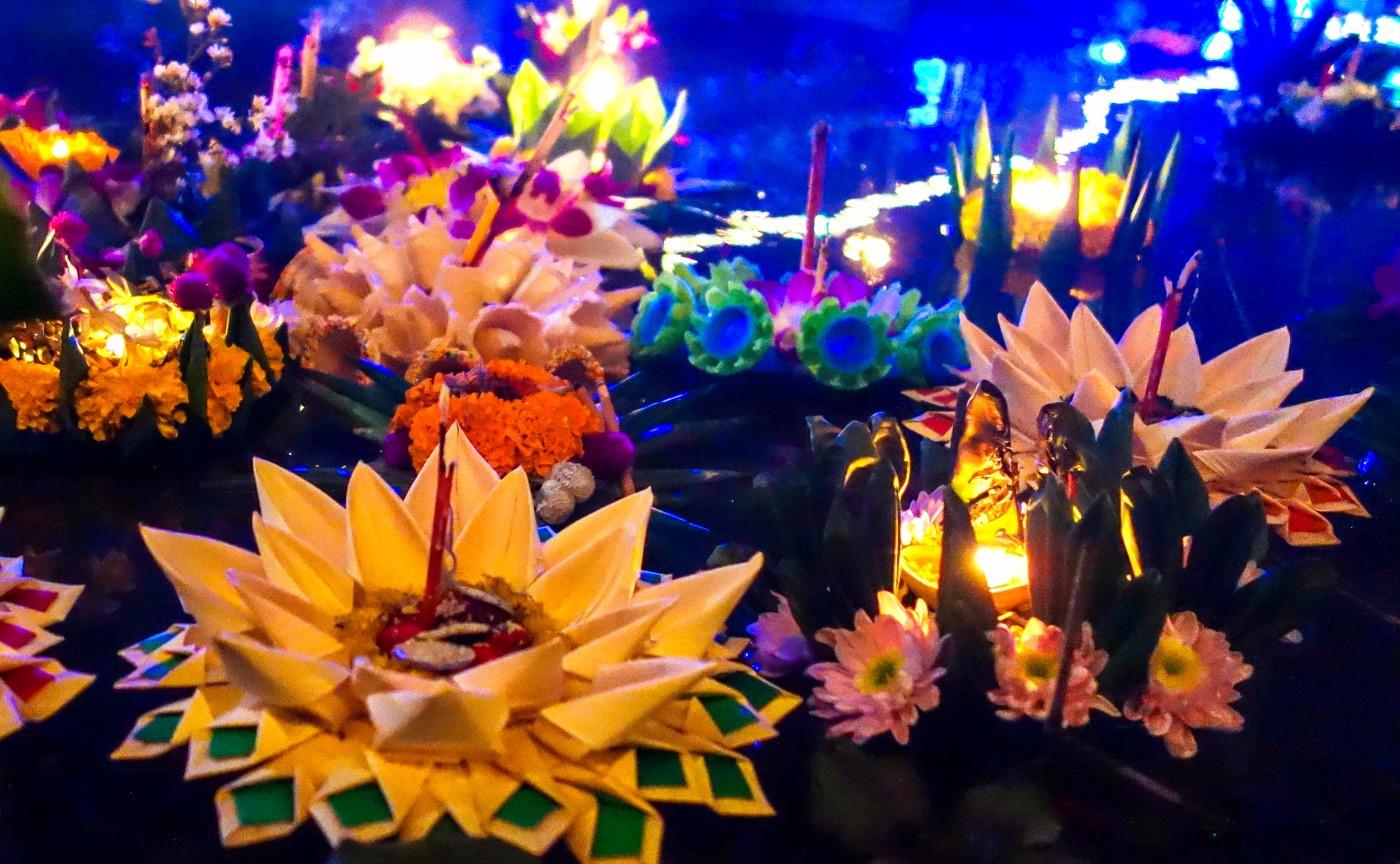 Traditional Loi Krathong Floating Lanterns