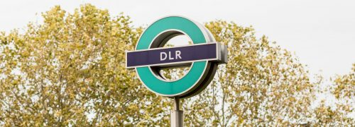 A DLR station sign in the Royal Docks