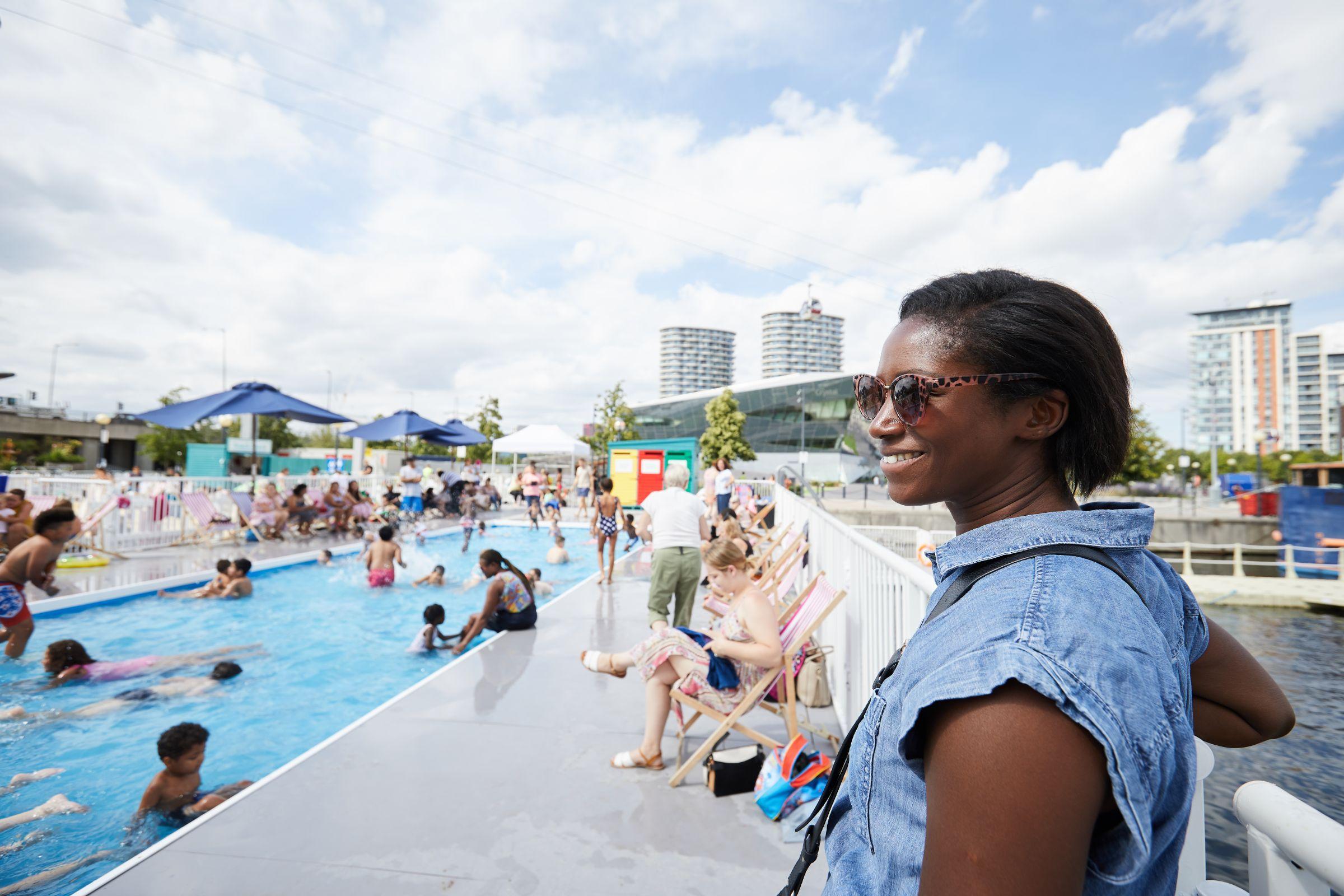 Attendees enjoying the Royal Docks paddling pool