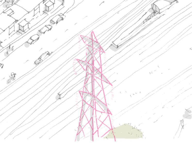 A pink electrical pylon