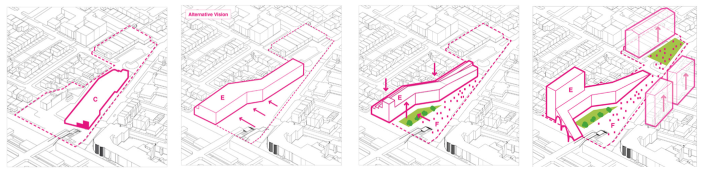 Diagram showing shopfront being moved backward, with a ramp being built into the new shopfront