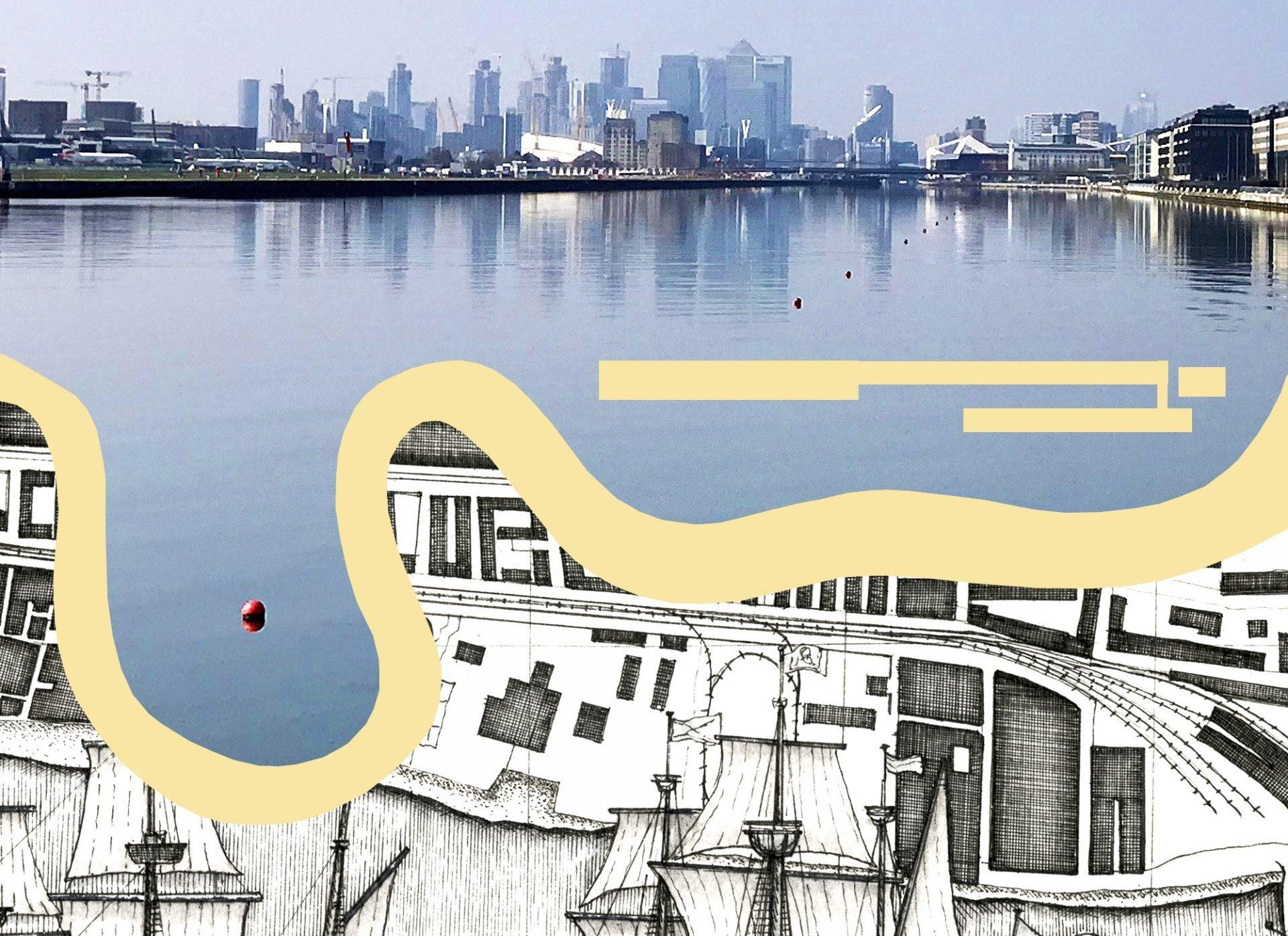 An image of the docks with Canary Wharf in the background. Underneath is an illustration of the Thames