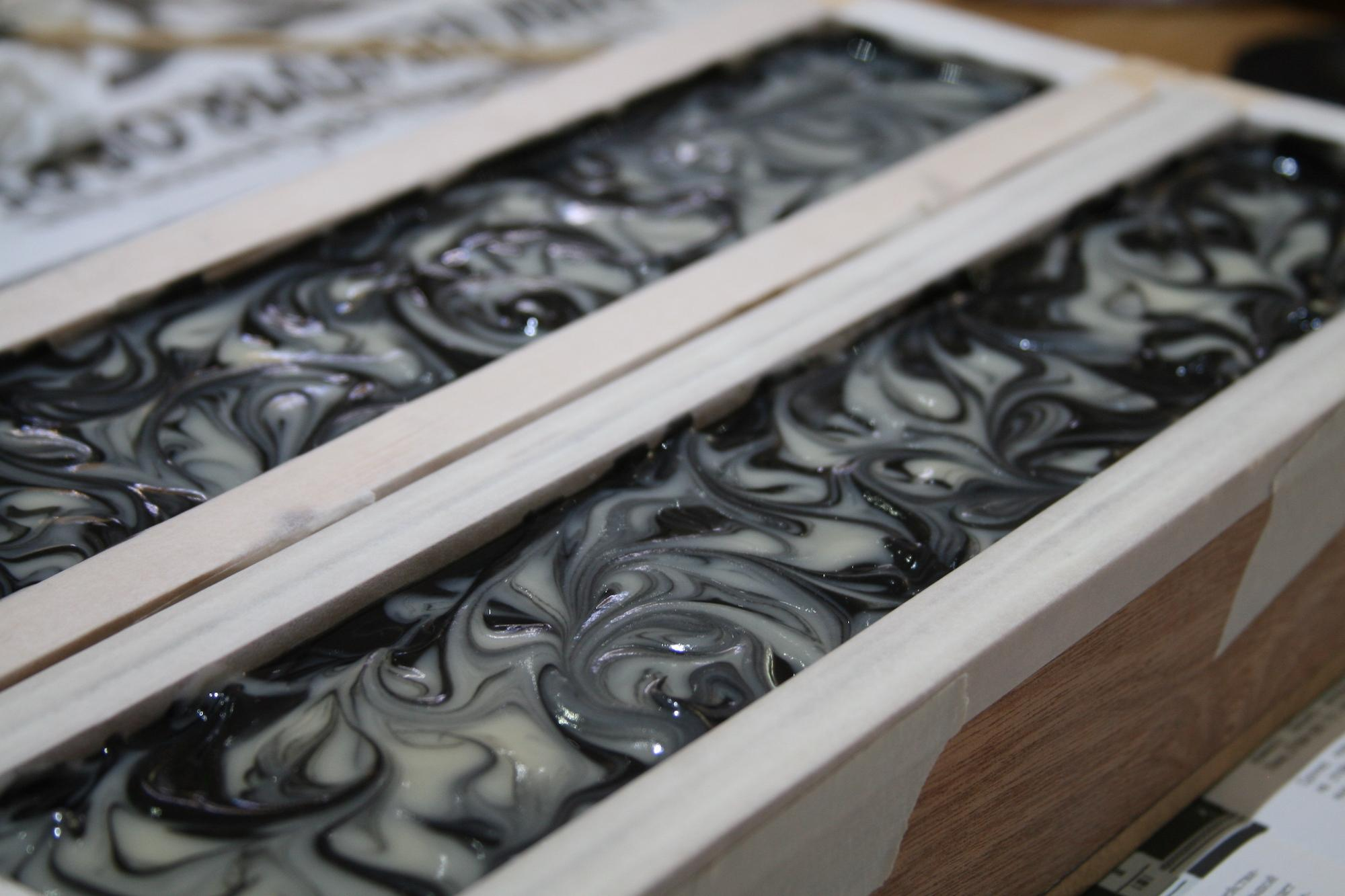 Dark soap setting in the mould