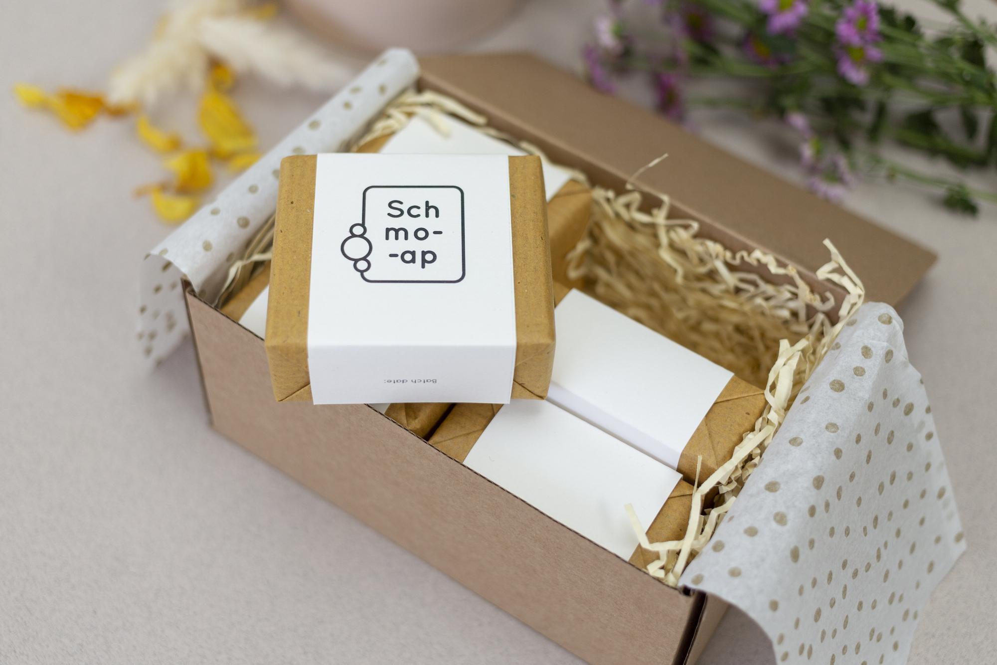 Bars of soap in Schmoap packaging