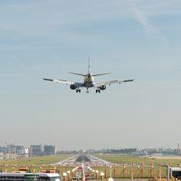 A plane landing at London City Airport