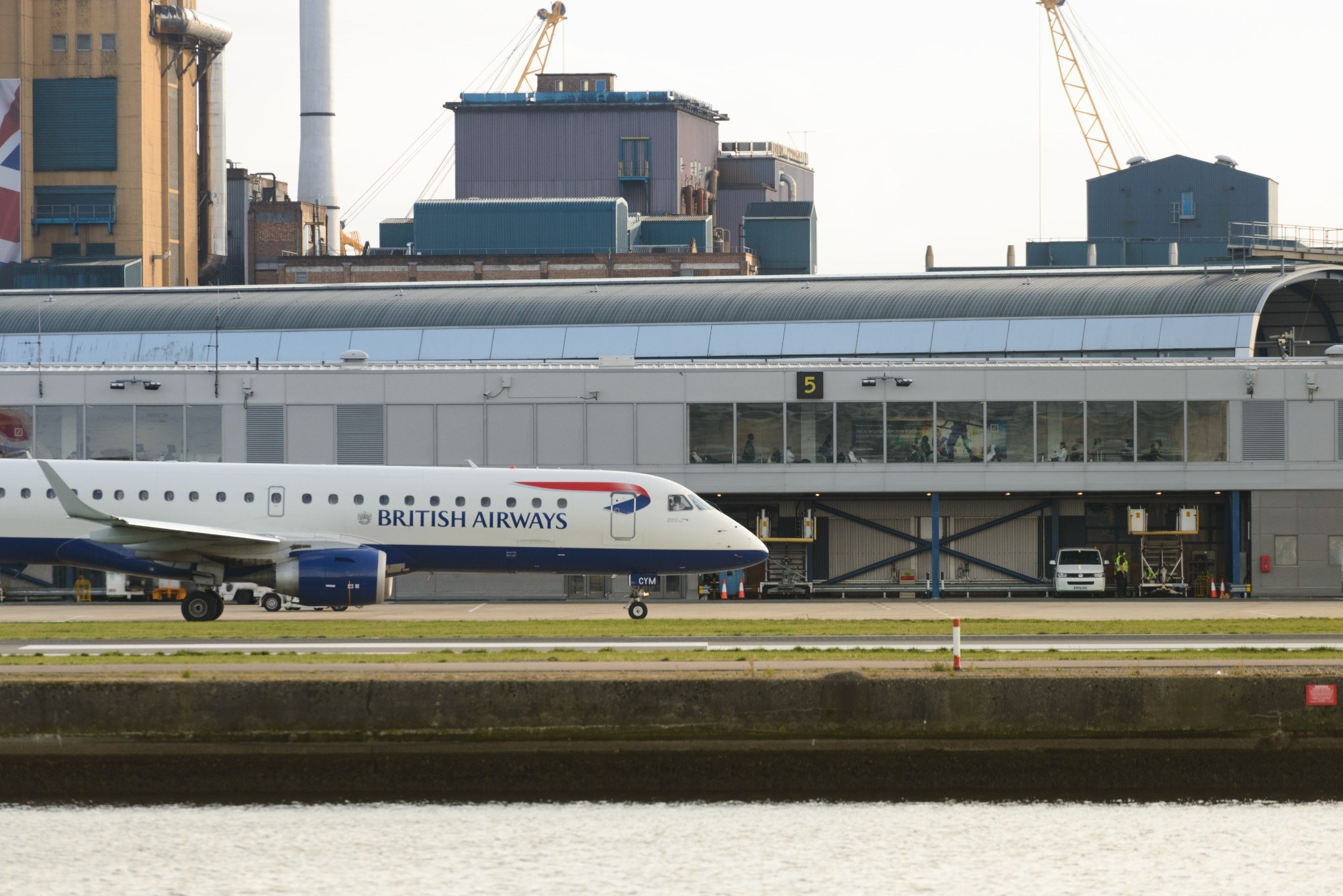 A British Airways plane on the runway at London City Airport