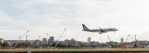Plane coming in to land at London City Airport