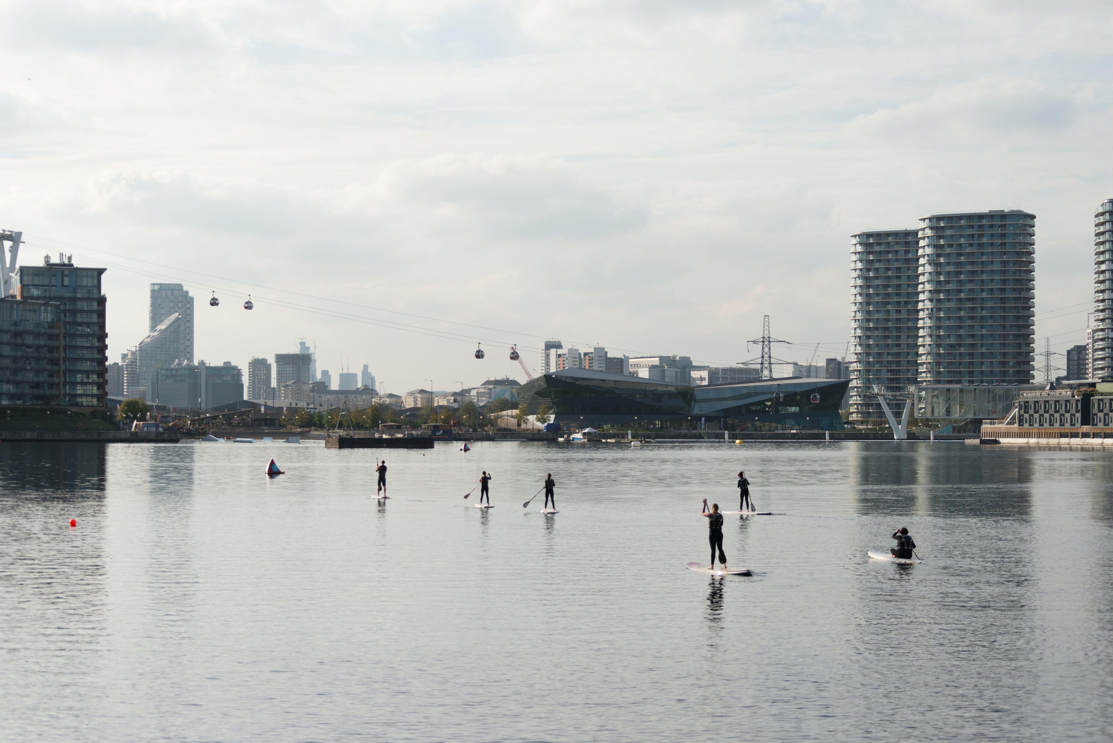 Paddleboarding at the Royal Docks