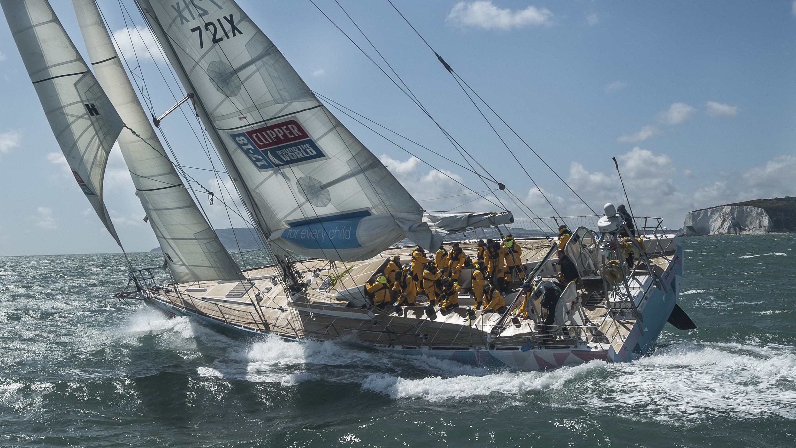 A Clipper Yacht race boat on the ocean