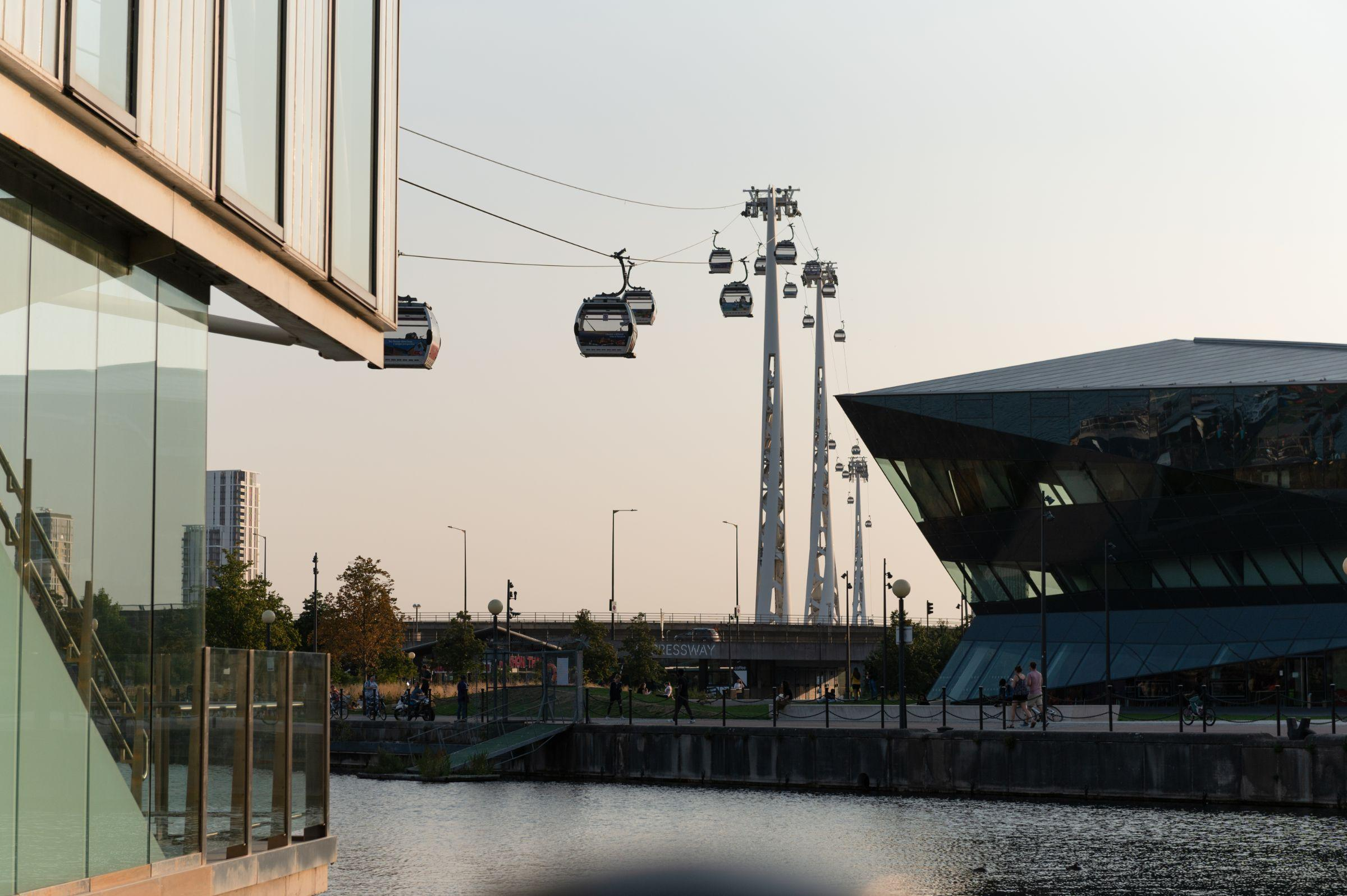 Cable car and Crystal building at sunset