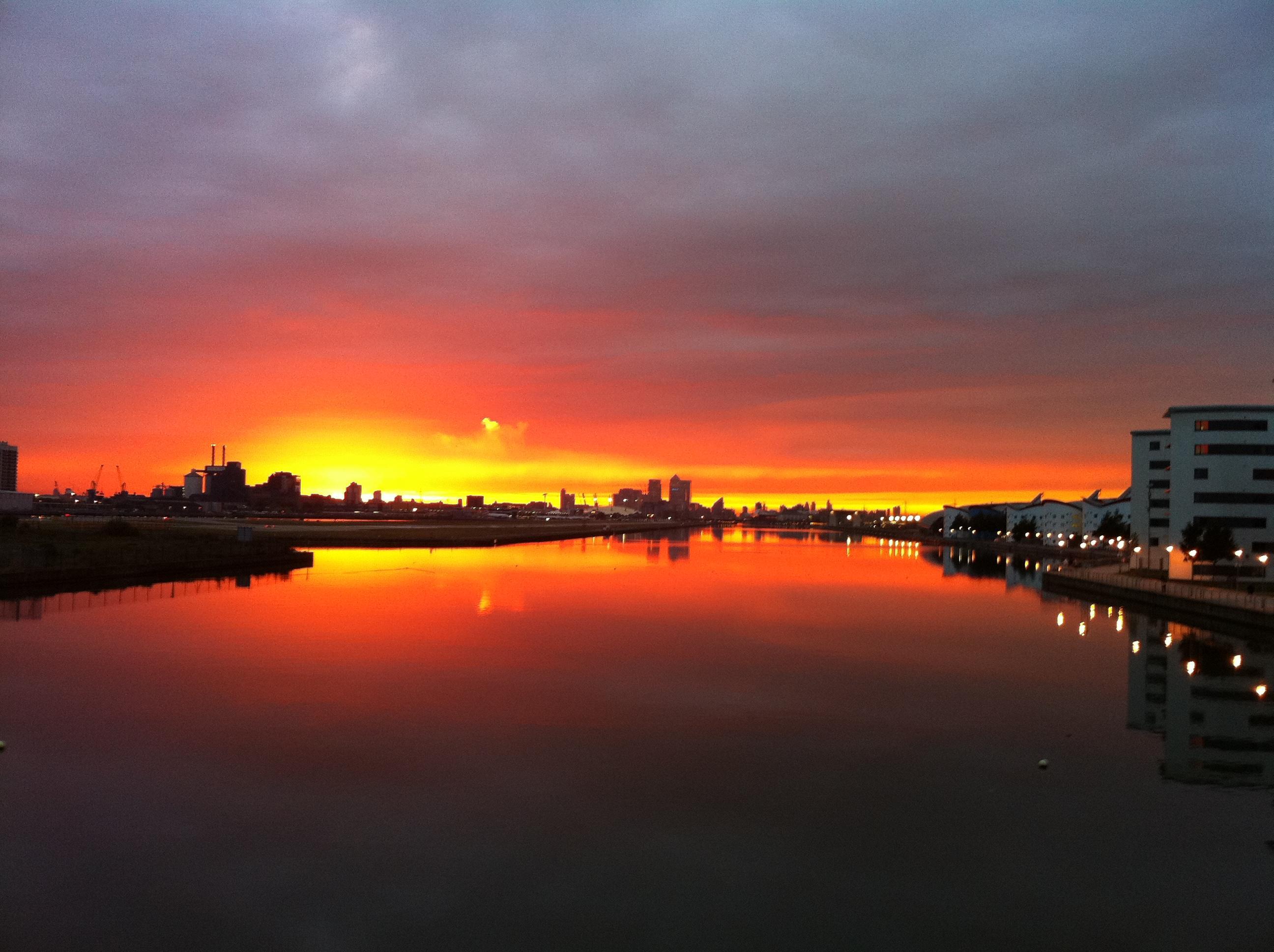 Sunset over the Royal Docks