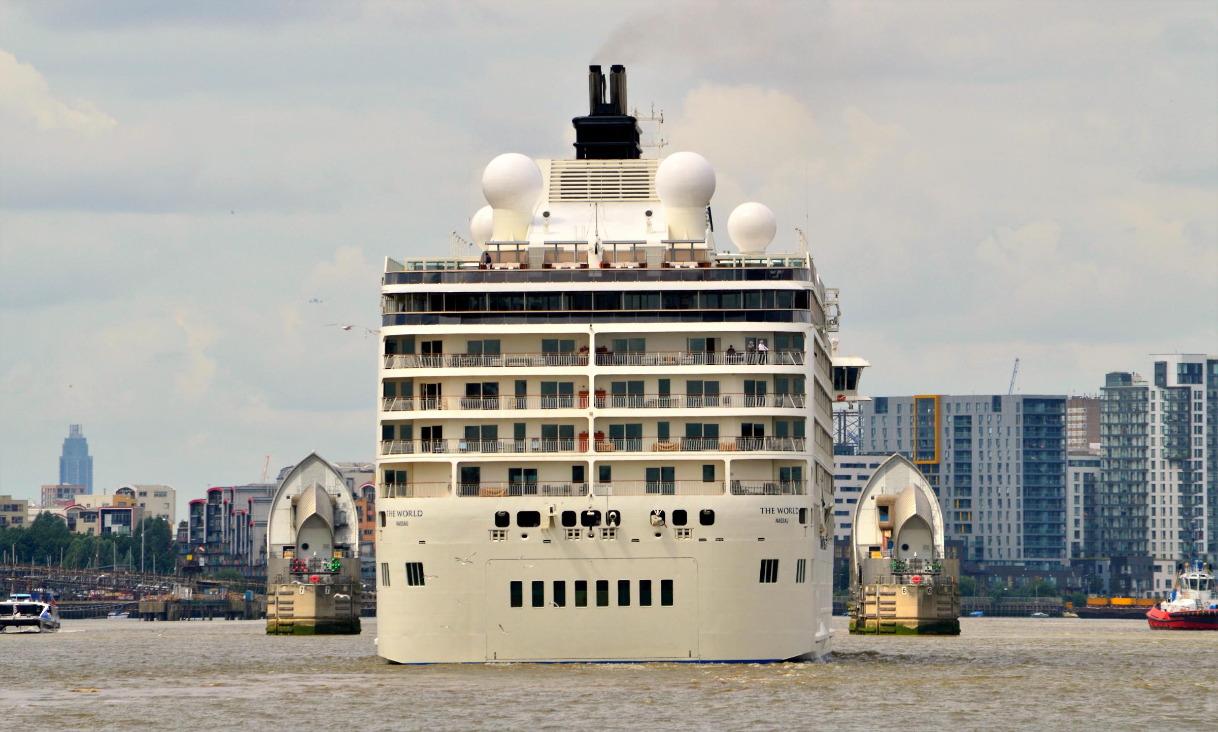 The World Cruise ship at the Royal Docks