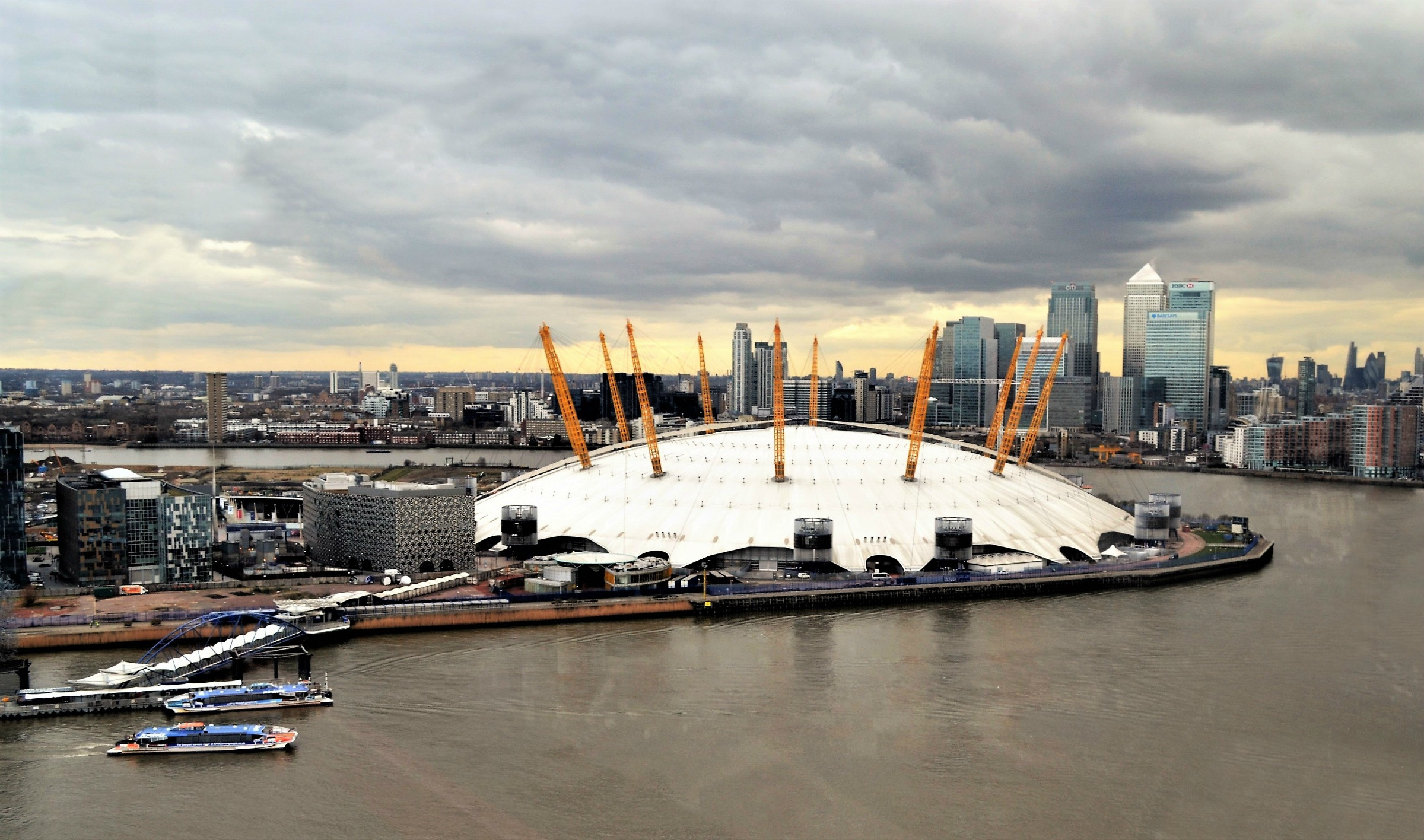 The O2  arena with Canary Wharf in the background