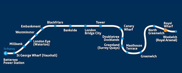 A map of the Thames Clipper route