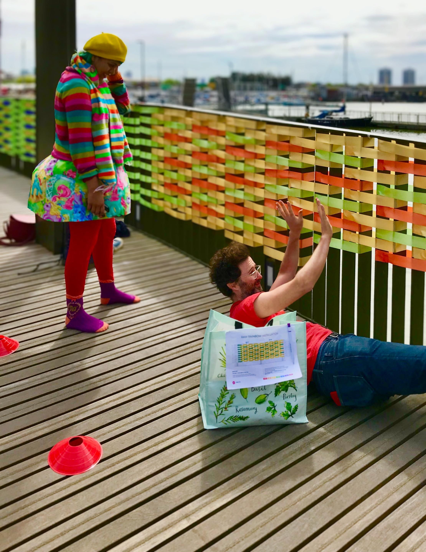 Volunteers helping to create RAW Rainbow bridge