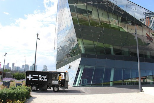 The Crystal building with a Royal Docks milkfloat outside