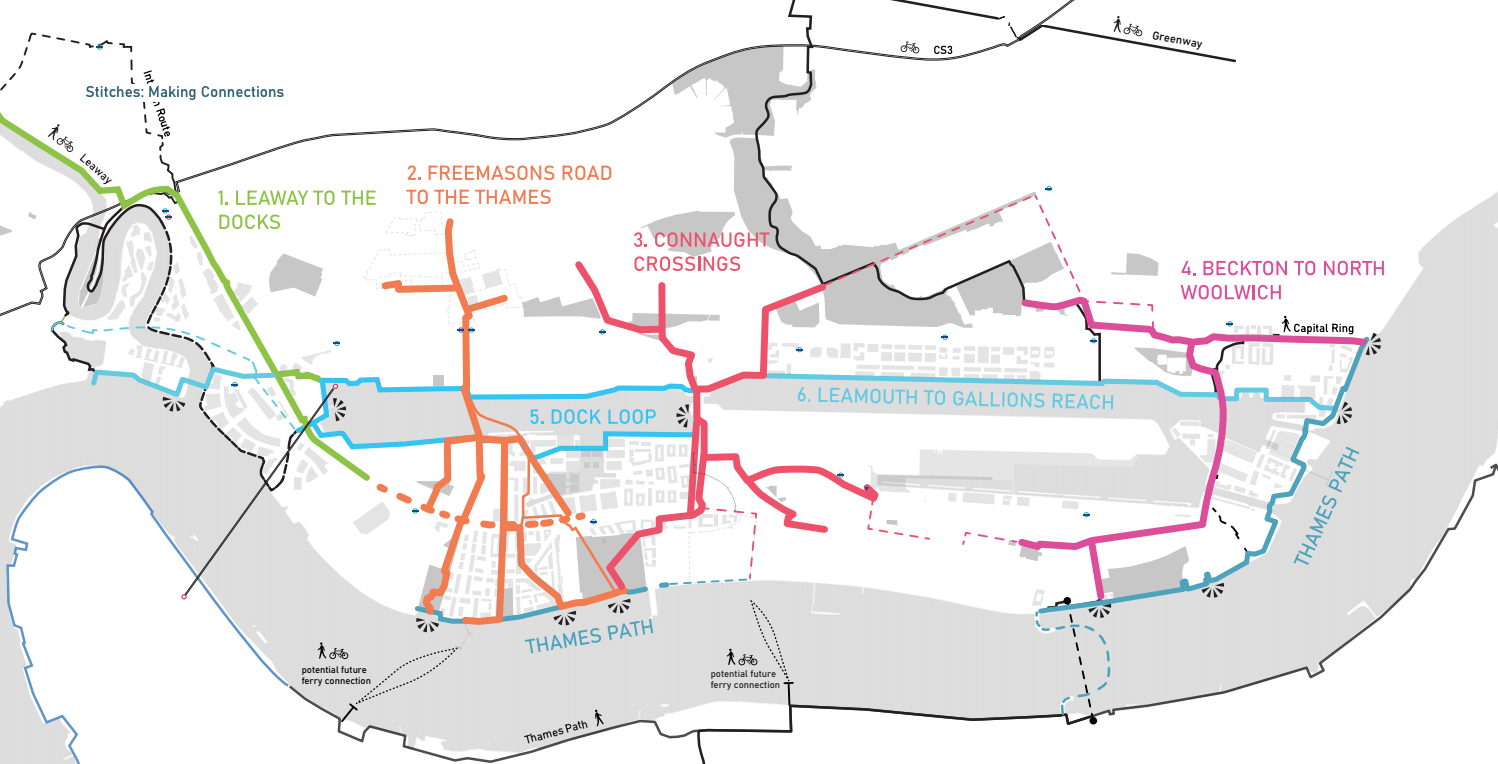 A map from the Royal Docks public realm framework