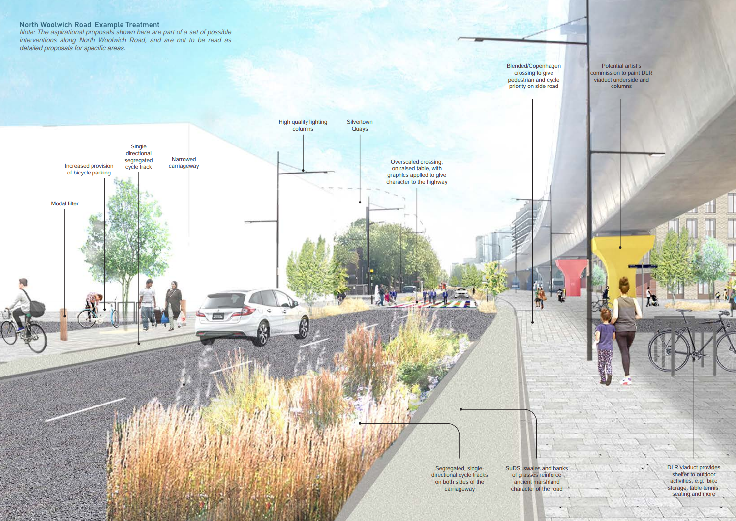 Images from the Royal Docks public realm framework