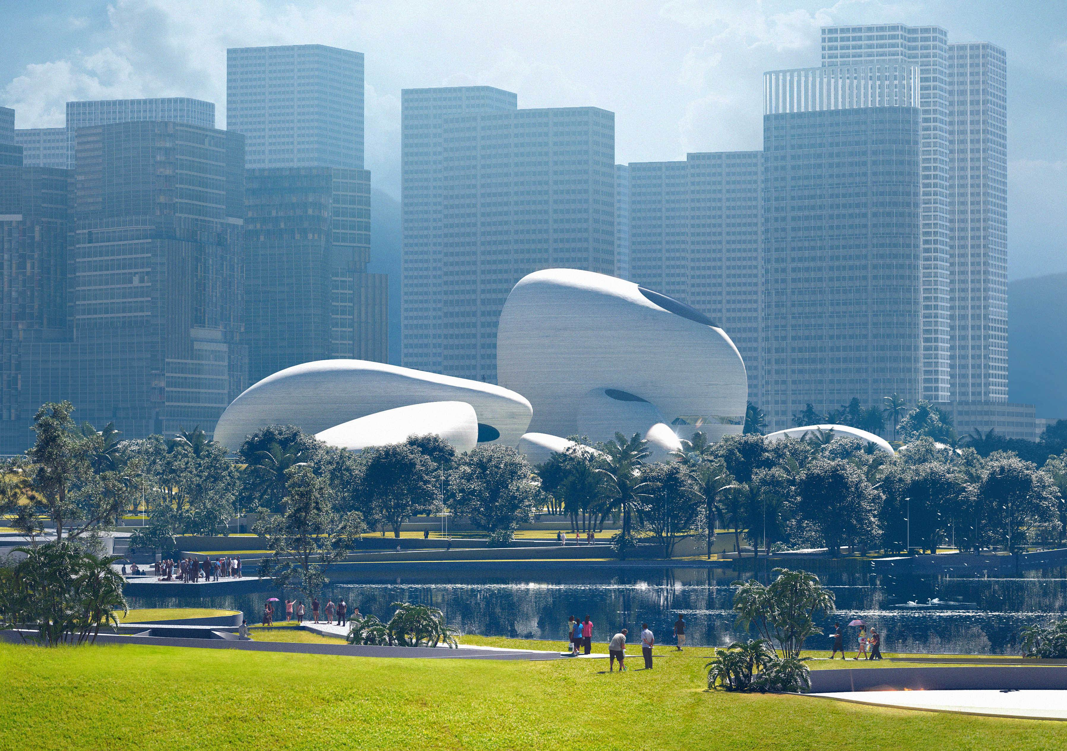 Futuristic buildings shaped like smooth stones at Shenzhen Bay Cultural Park