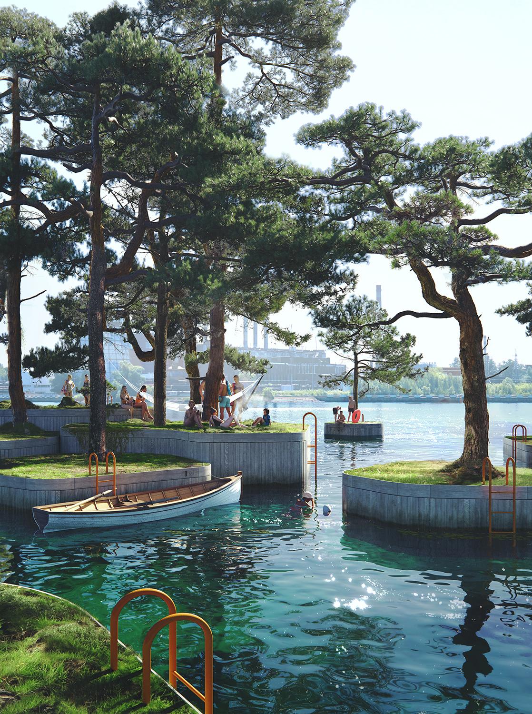 Boats around miniature islands