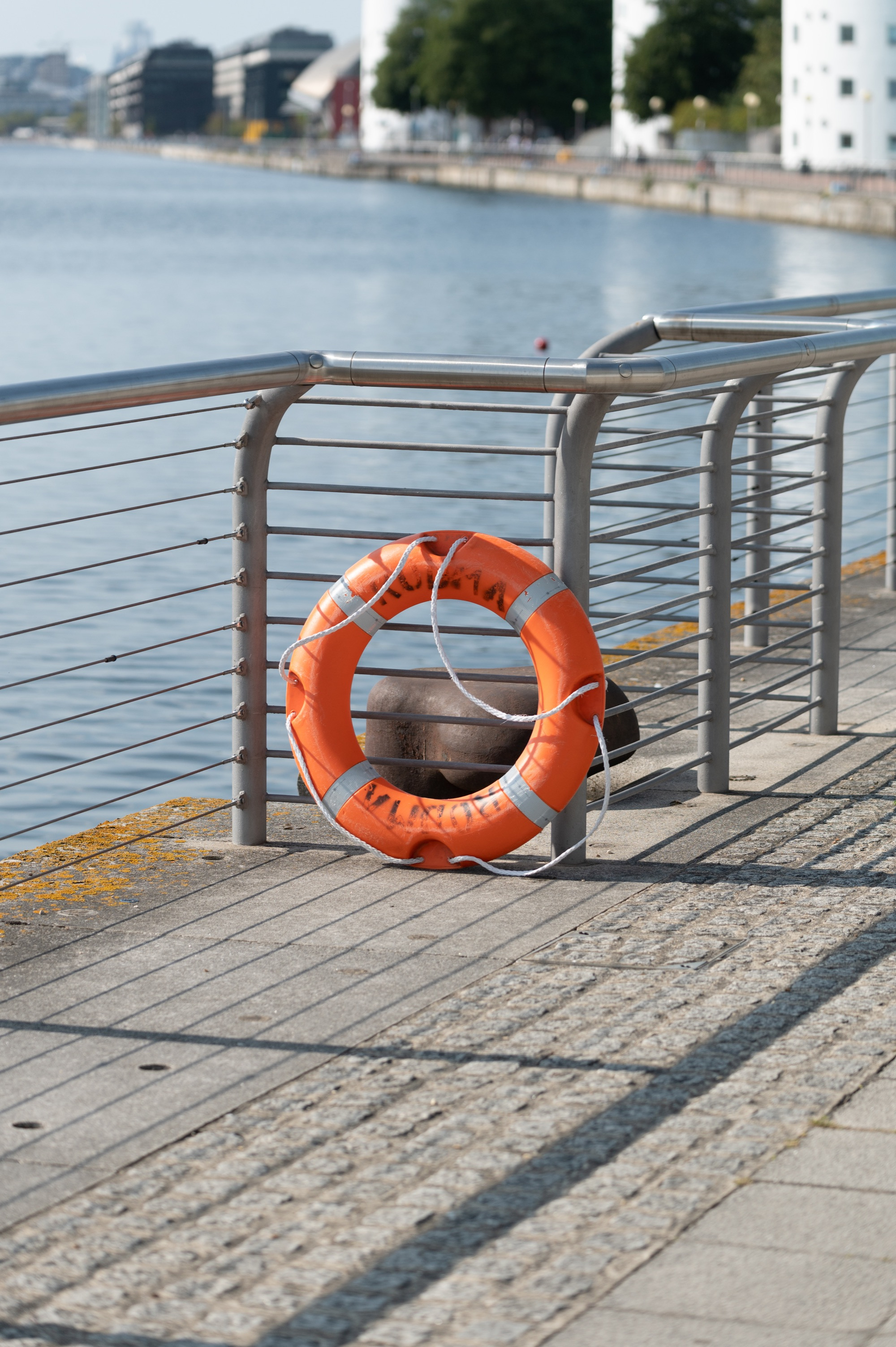Royal Docks waterside with railing and life buoy