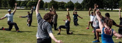 Outdoor fitness at Thames Barrier Park
