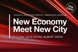 Poster for New Economy Meet New City 2019 event at ExCel centre