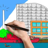 A drawing of the Royal Docks