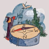 An illustration of a compass pointing East