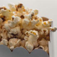 A close-up of popcorn in a bag
