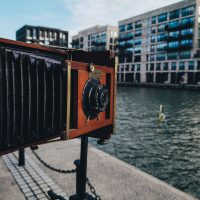 A wet plate camera in the Royal Docks