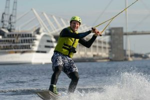 Man enjoying wakeboarding
